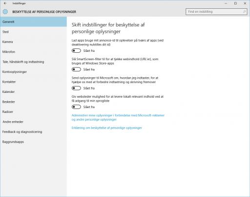 Windows10_Beskyttelse af personlige oplysninger