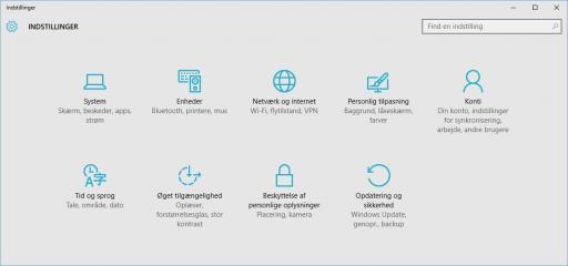 Windows10 indstillinger